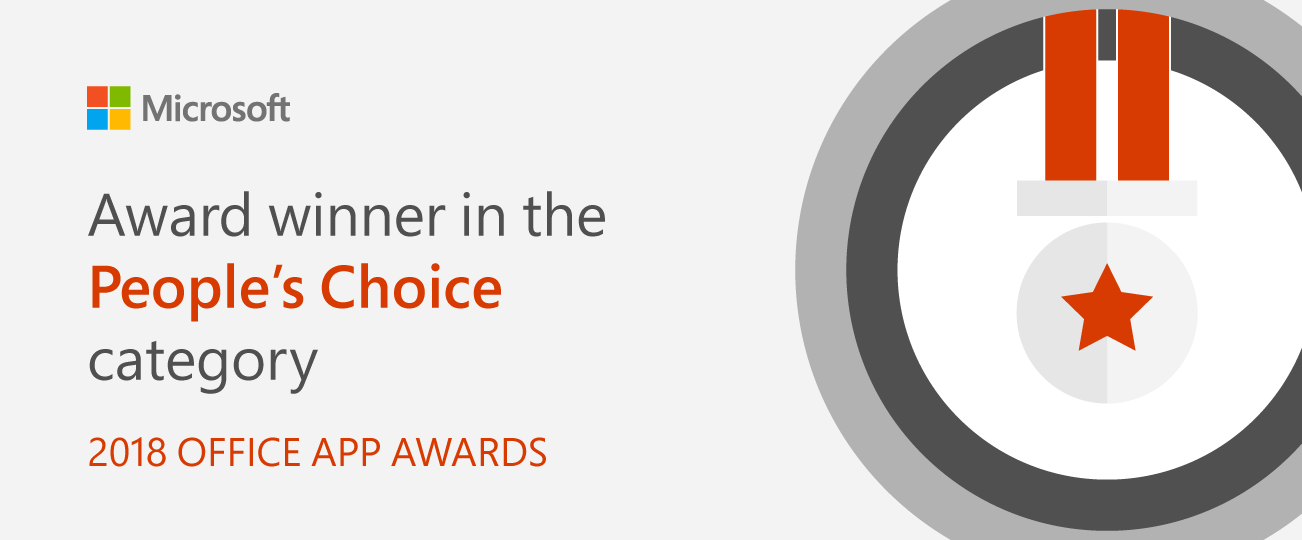 Award winner for People's Choice category. 2018 Office App Awards
